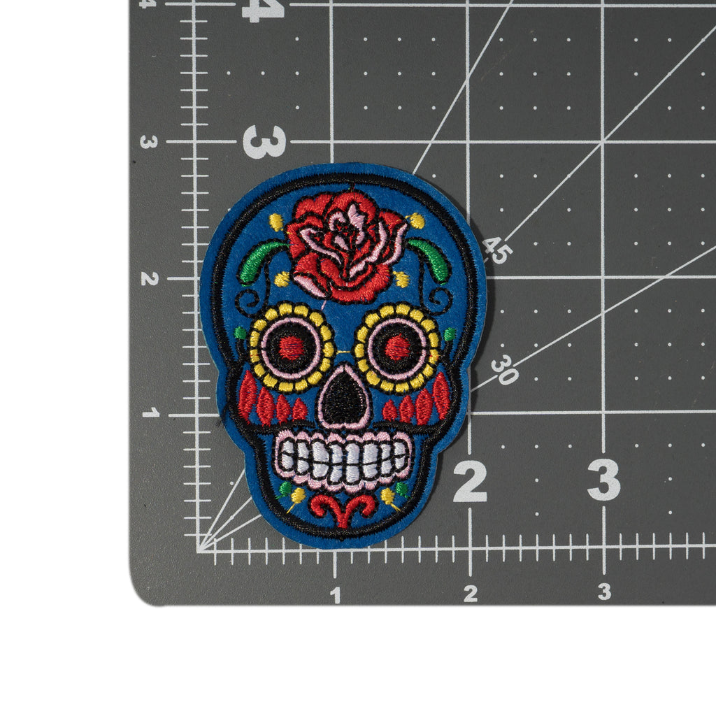 Cool Pups Iron-On Patches: Blue Skeleton Day of the Dead