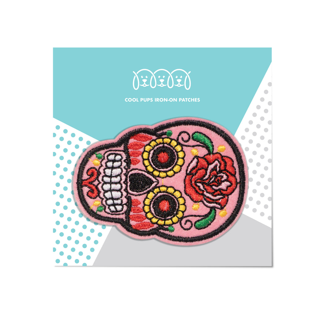 Cool Pups Iron-On Patches: Pink Skeleton Day of the Dead