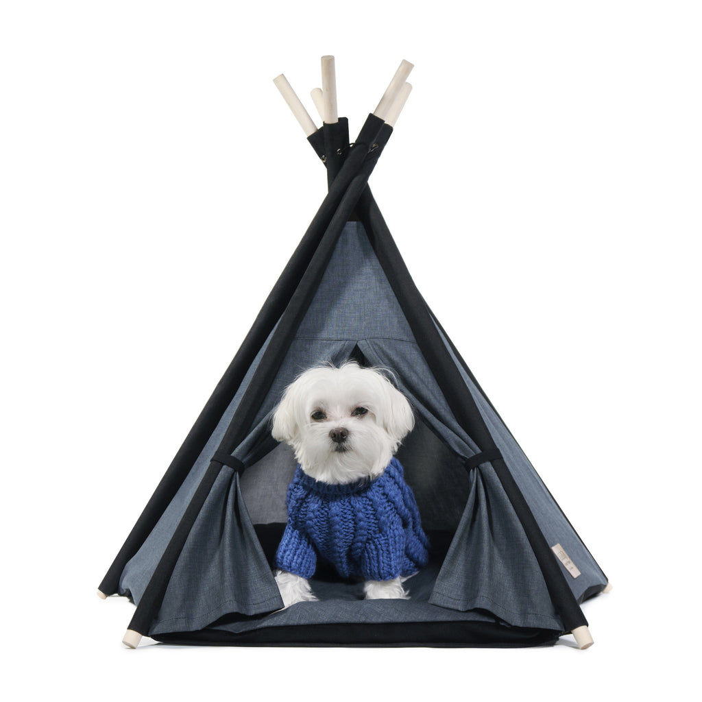 Chilll Pups Gunmetal Gray and Black Teepee for Dogs by United Pups  sc 1 st  United Pups & Designer Pet Teepee Tent with Matching Cushion Bed - Classy Tip ...
