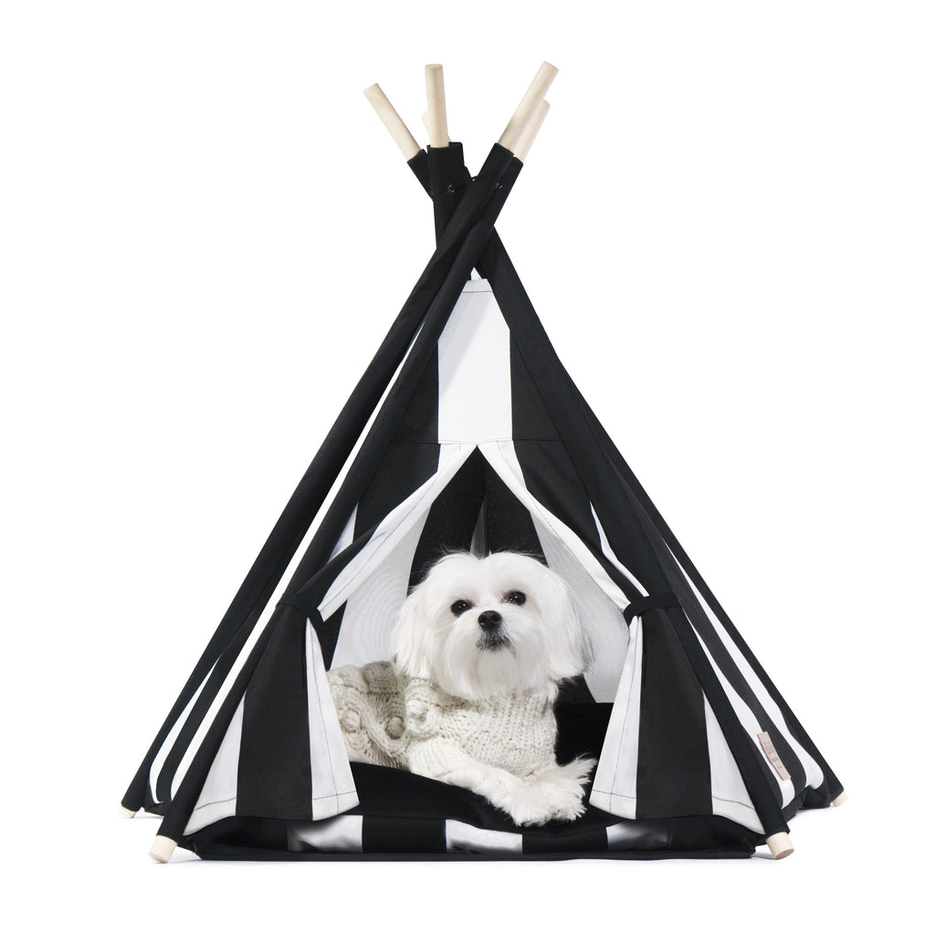 Cool Pups Black and White Stripe Teepee for Dogs by United Pups  sc 1 st  United Pups & Designer Pet Teepee Tent with Matching Cushion Bed - Classy Tip ...