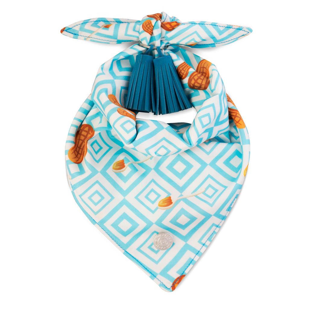 Chill Pups Blue Peanut Butter Bandana with Tassels for Dogs by United Pups