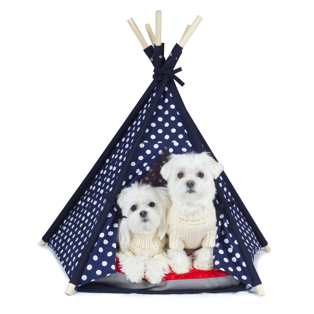 Designer Pet Teepee Tent with Matching Cushion Bed - Fashion Blue Dot