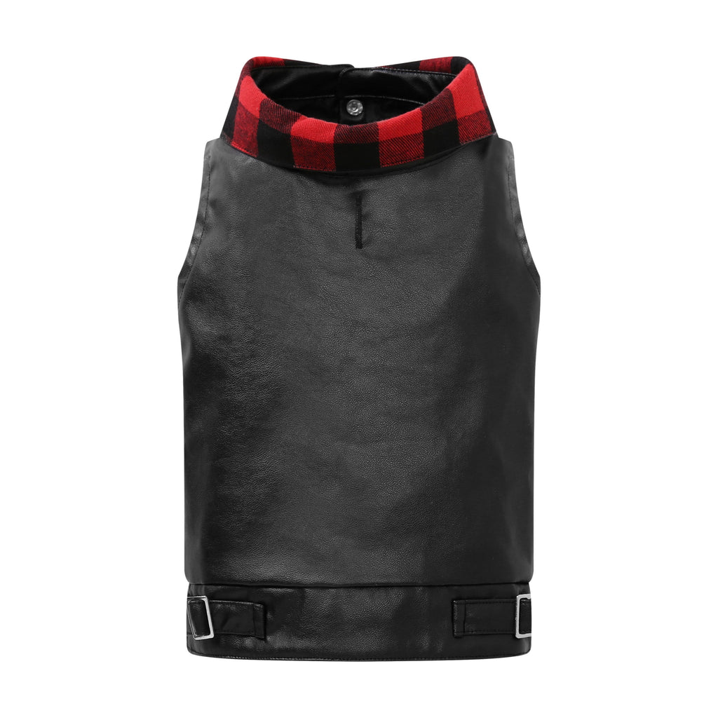 United Pups Buffalo Plaid Vegan Leather Vest for Dogs Back View