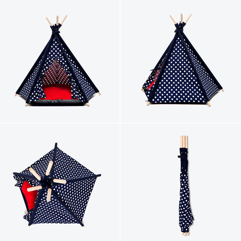 Designer Pet Teepee Tent with Matching Cushion Bed - Fashion Blue Dot for Dogs by United Pups