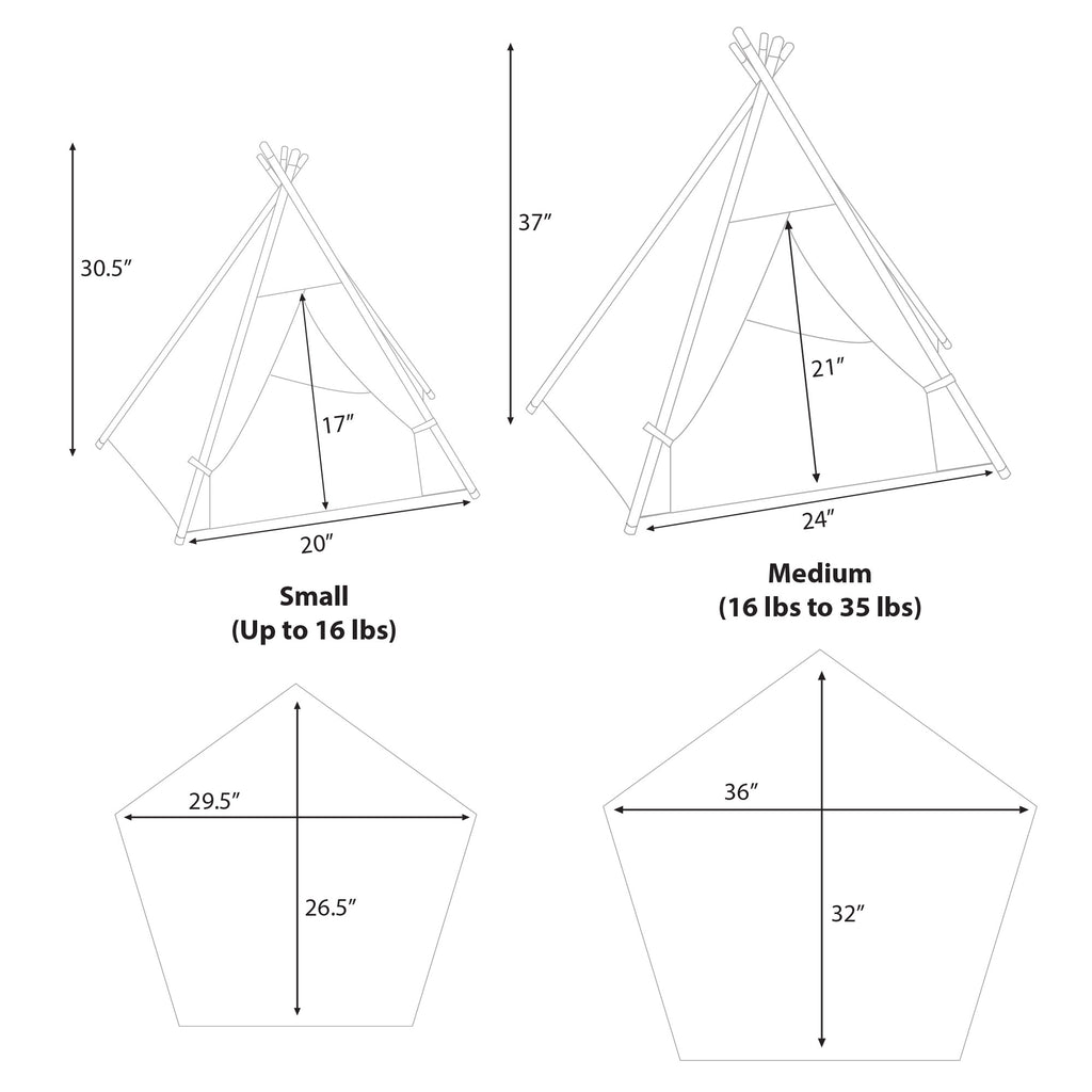 l Pups Gunmetal Gray and Black Teepee for Dogs by United Pups (size and dimension chart)