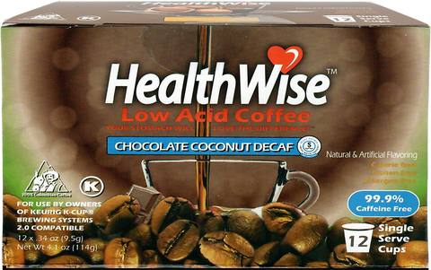 Chocolate Coconut Low Acid Keurig K-Cups - Decaf - HealthWise Coffee