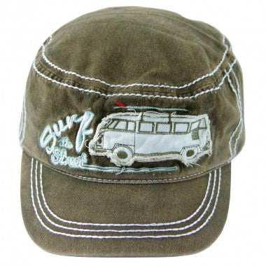 Das Stuff vintage VW T1 Bus inspired military style cap - olive green