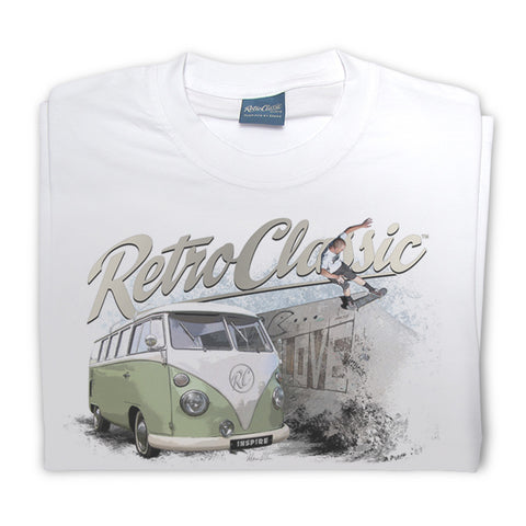 Mens RetroClassic Clothing T-Shirt - Retro Skateboarder and VW Split Window Bus