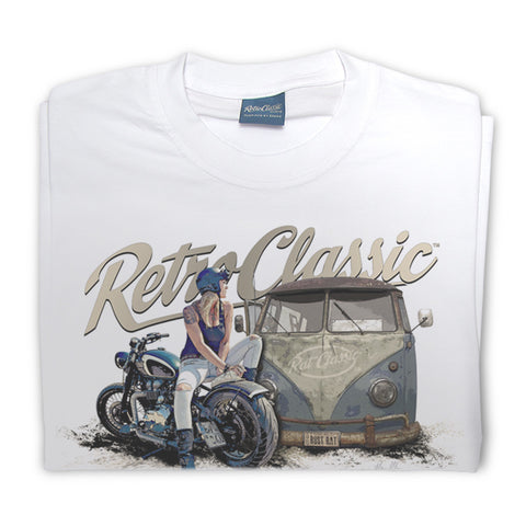 Mens RetroClassic Clothing T-Shirt - Rat Classics VW Bus and Motorcycle