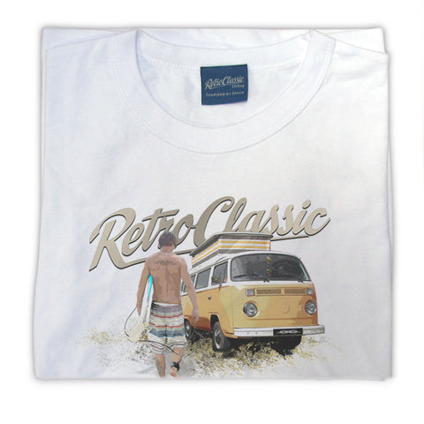 Womens RetroClassic Clothing T-Shirt - Bay Window VW Bus and Surf Dude