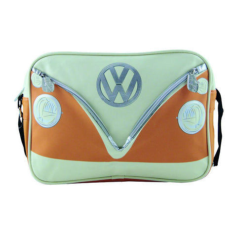 Vintage Volkswagen Lifestyle - Messenger Bag with vintage VW Bus graphics in orange