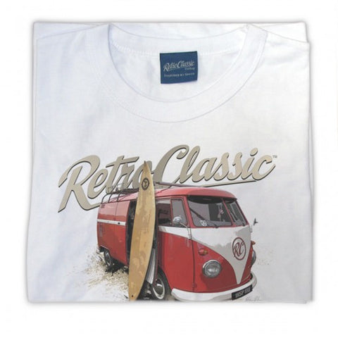 Mens RetroClassic Clothing T-Shirt - Sun Sea and Surf Classic VW Split Window Bus