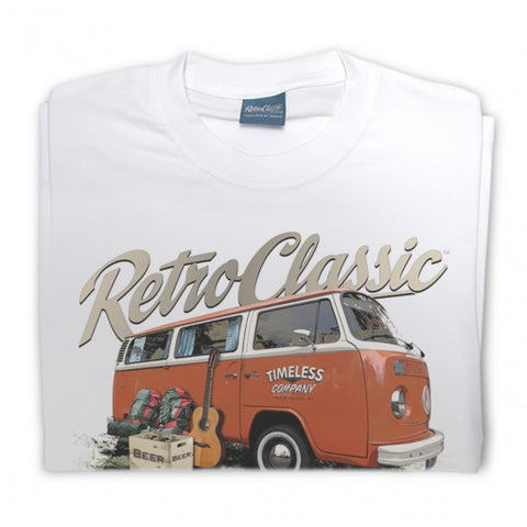 Mens RetroClassic Clothing T-Shirt - Mark's 'Timeless' Retro Bay Window and Camping Gear