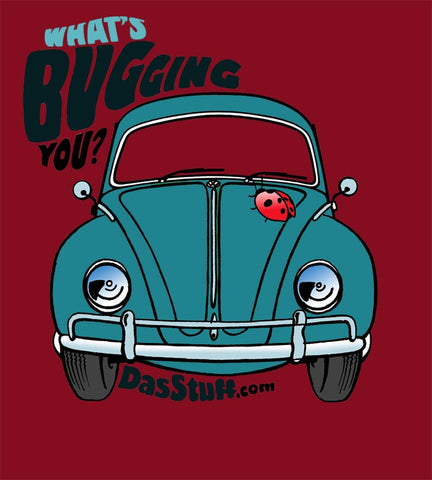 Das Stuff Mens T-Shirt. What's Bugging You. Graphic of Vintage VW Bug
