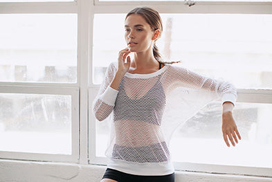 Stelari All Meshed Out Snow Yoga Top
