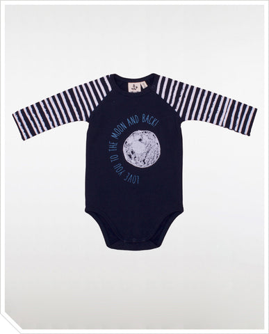 Body LS Raglan Onesie - Moon Stripes