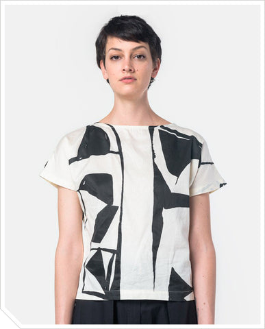 Boat Neck Top - Black / Cream Print