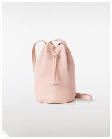 Leather Bucket Bag - Blush