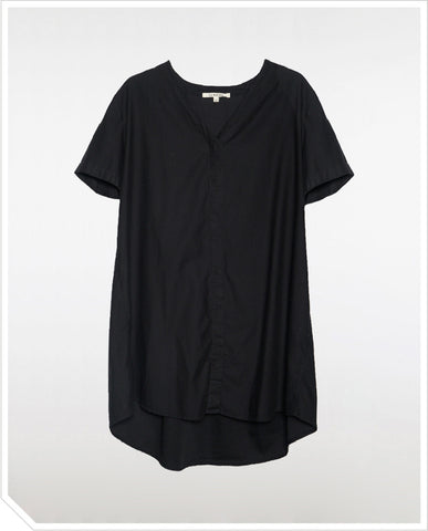 Button Down Shirt Dress - Black