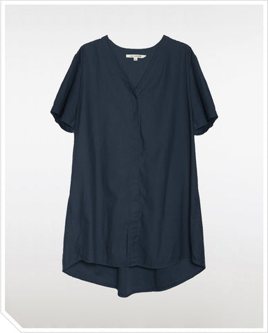 Button Down Shirt Dress - Navy