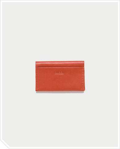 Leather Card Holder - Brick Red