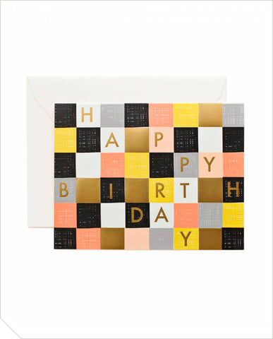 Birthday Greeting Card - Checkered