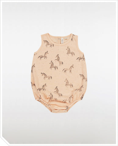Circus Horses Bubble Onesie - Blush