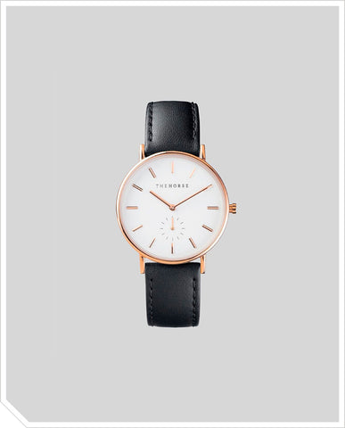 The Classic - Rose Gold / Black Leather