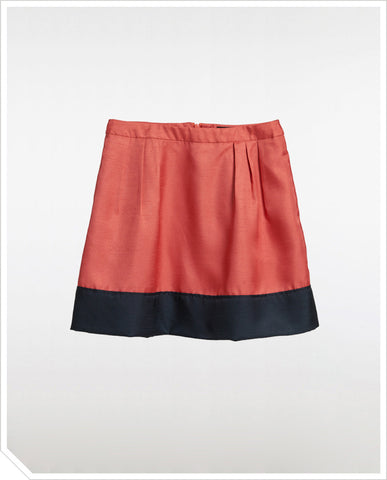 Colorblock Skirt - Coral
