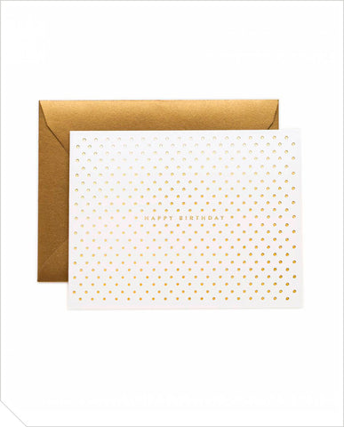 Birthday Greeting Card - Gold Dots