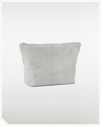 Large Stash Clutch - Grey Suede