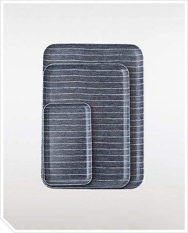 Linen Coating Trays - Navy / White Stripes