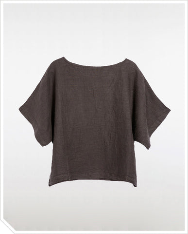 Linen Square Top - Charcoal