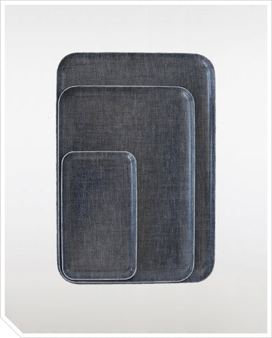 Linen Coating Trays - Blue Denim