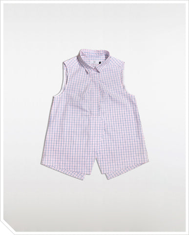 Marble Sleeveless Shirt - Checks