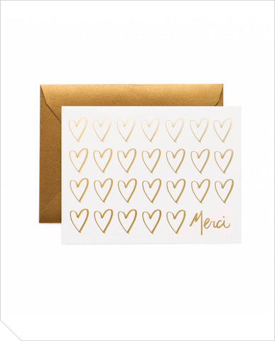 Thank You Greeting Card - Merci Hearts