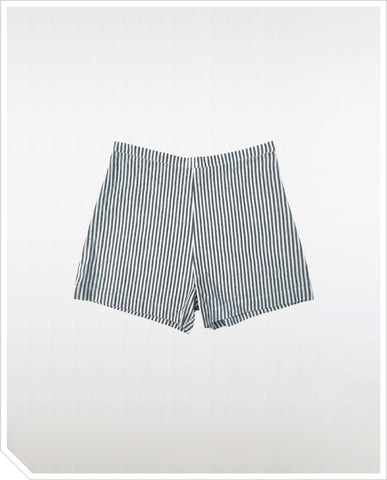Linen Shorts - Black Stripe