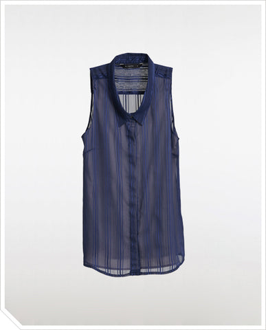 Striped Sheer Shirt - Dark Navy