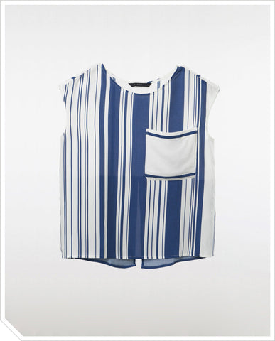 Ruby Blouse - Navy Stripe