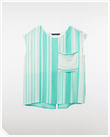 Ruby Blouse - Green Stripe