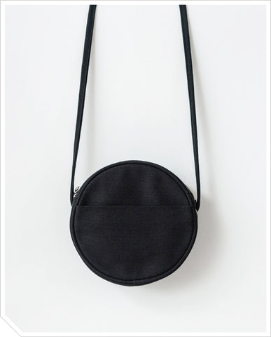 Small Canvas Circle Purse - Black