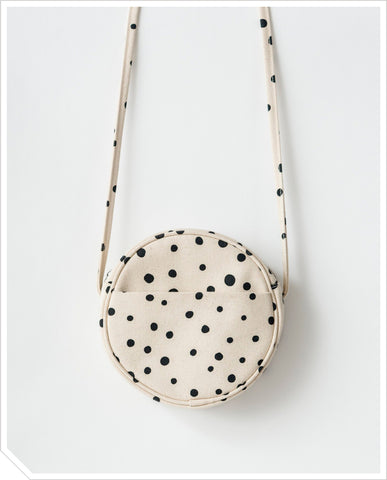 Small Canvas Circle Purse - Dots