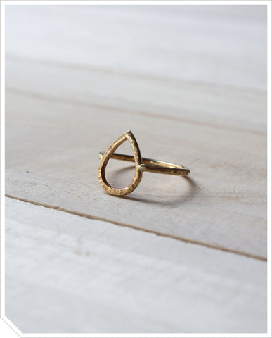 Teardrop Ring - Brass
