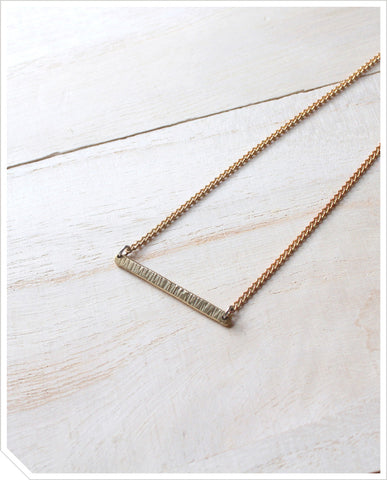Textured Bar Necklace - Brass