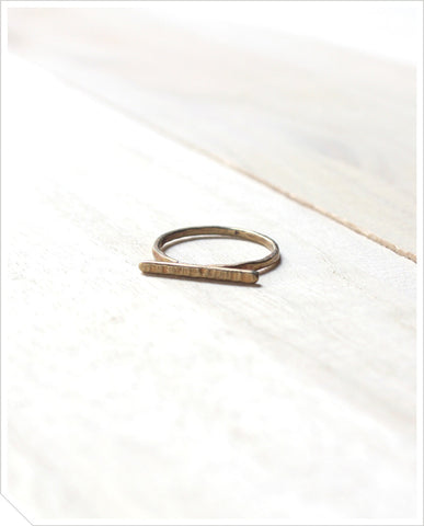 Textured Bar Ring - Brass