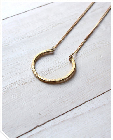 Textured Horseshoe Necklace - Brass