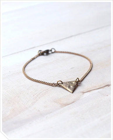 Hammered Triangle Bracelet - Brass