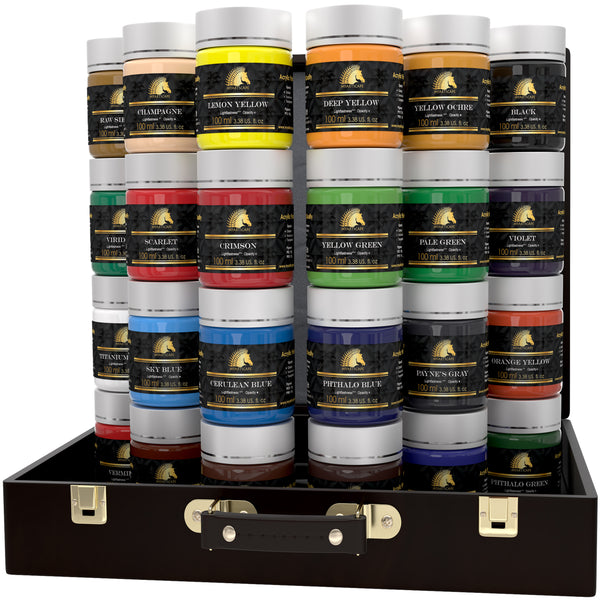 Acrylic Paint Set - 24 x 100ml Bottles - Artist Quality Art Paints