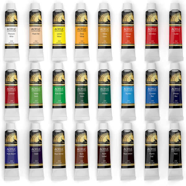 Acrylic Paint Set - 24 x 21ml Artist Quality Paints