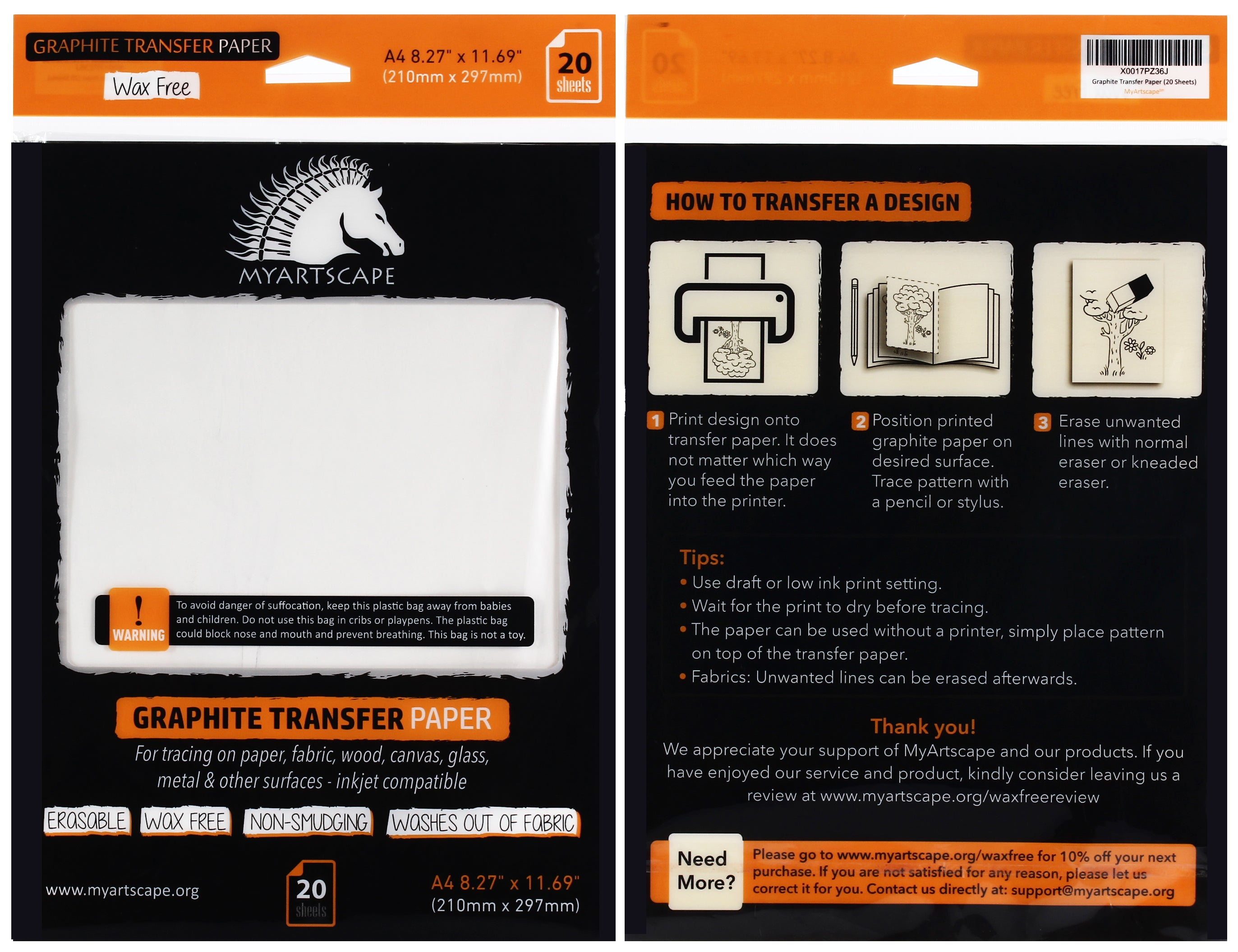 graphite transfer paper 9 x 13 25 sheets waxed carbon paper